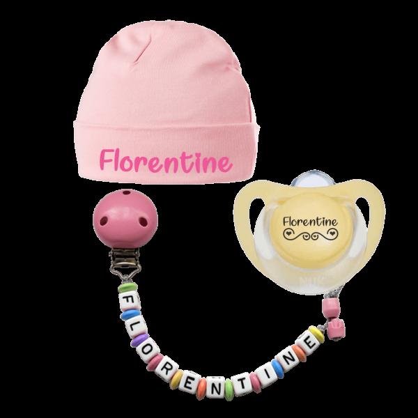 Bestseller Mädchen (Geschenk zur Geburt mit Namen des Babys): NUK Schnuller mit Namen + Schnullerkette mit Namen + Babymütze mit Namen
