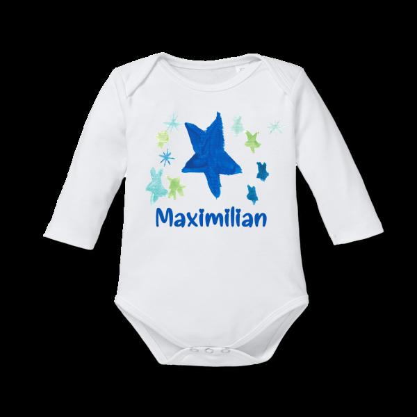 Baby Body mit Namen Stern (Junge) Langarm von Schnullireich