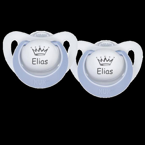 NUK Schnuller mit Namen Elias + Wunschmotiv Krone Gr. 1 0-6 Monate / Gr. 2 6-18   Monate Junge