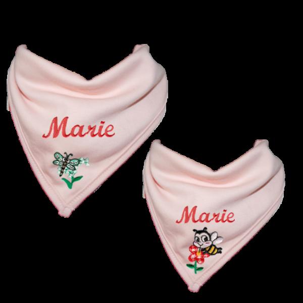 Halstuch mit Namen / Personalisiertes Dreieckstuch Rosa Mädchen