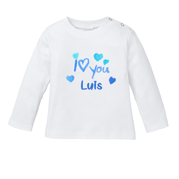 Baby Shirt mit Namen + I Love You bedrucken (Junge)