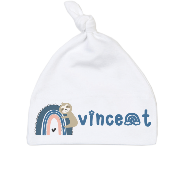 Babymütze mit Namen Regenbogen (Junge) 0-6 / 6-18 Monate
