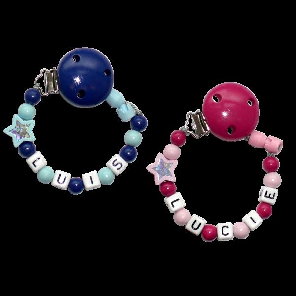 Schnullerkette mit Namen (Junge / Mädchen) Glitzerstern Rosa Blau