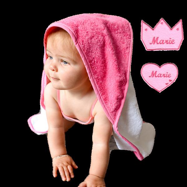 Kapuzenhandtuch mit Namen Krone Herz  (Mädchen / Junge) Blau Pink