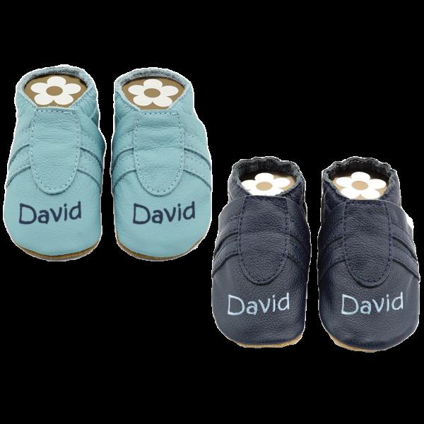 Krabbelschuhe mit Namen (Junge) Sneaker Hellblau / Dunkelblau