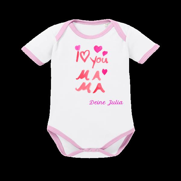 Baby Body mit Namen I love Mama kurzarm rosa weiss von Schnullireich