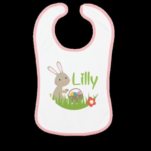 Baby Lätzchen mit Namen bedruckt - Oster-Hase / Ostern (Mädchen) Rosa