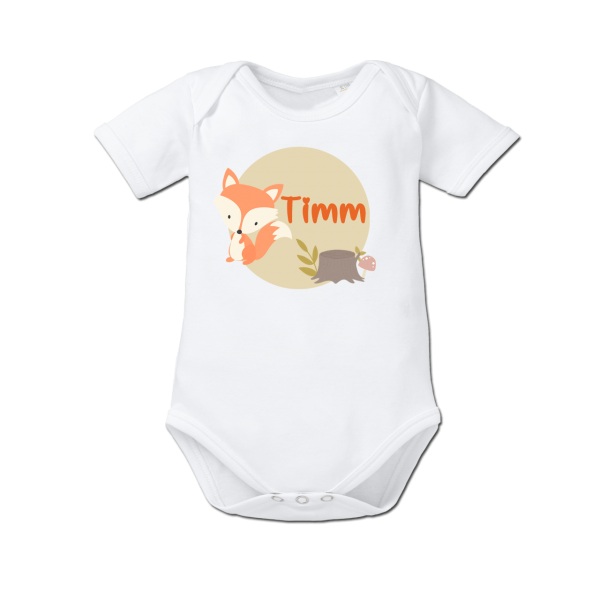 Baby Body mit Namen Fuchs Junge / Mädchen von Schnullireich Geburtsgeschenk