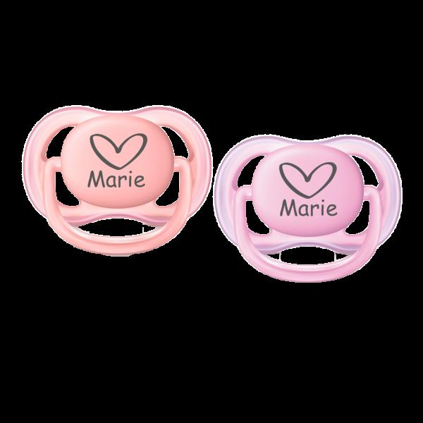 AVENT Schnuller mit Namen Marie + Wunschmotiv Herz Gr. 1 0-6 Monate Mädchen