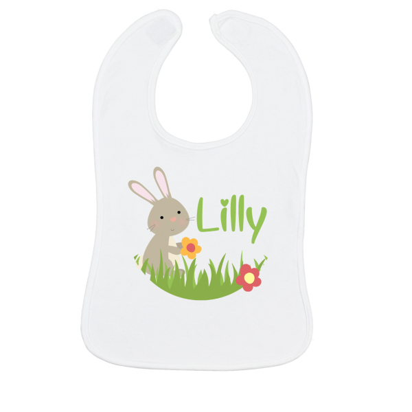 Baby Lätzchen mit Namen bedruckt - Hase (Mädchen / Junge) Weiß