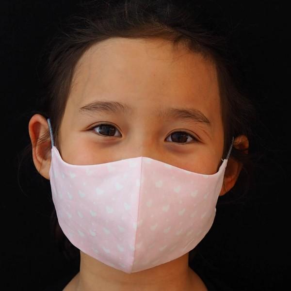 Behelfs-Mundschutz für Kinder ohne / mit Namen - Rosa Herzen