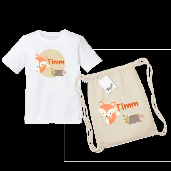 Kinder T-Shirt mit Namen / Turnbeutel mit Namen Fuchs bedruckt (Mädchen / Junge) 2-8 Jahre by Schnullireich