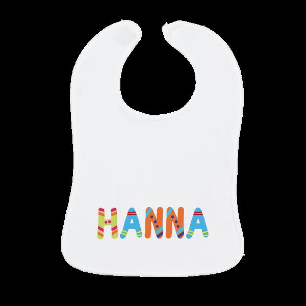 Personalisiertes Baby Lätzchen mit Namen bunte Buchstaben Mädchen / Junge