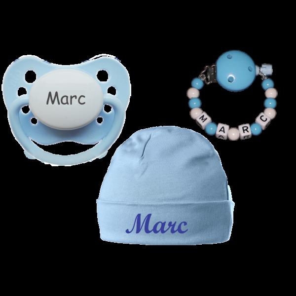 Bestseller Junge (Geschenk zur Geburt): Schnuller + Schnullerkette + Babymütze mit Namen