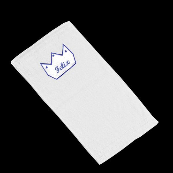 Handtuch mit Namen Krone (Junge) Blau