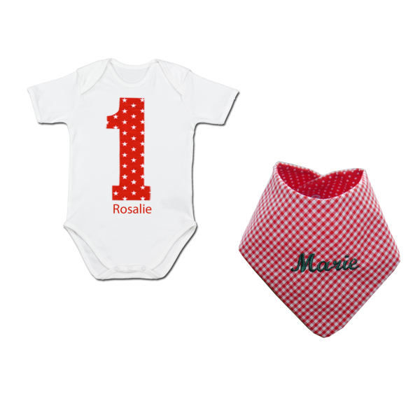 """Baby-Body mit Namen """"Nr. 1"""" + Halstuch mit Namen (Kurzarm))"""