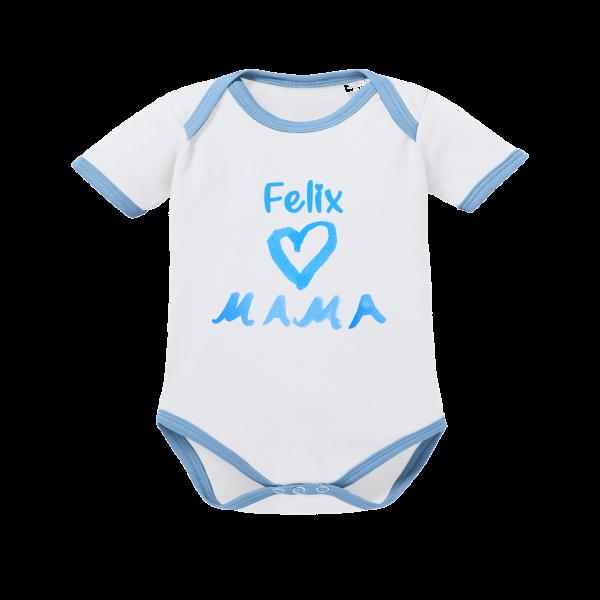 Baby Body mit Namen bedruckt + Motiv I Love Mama blau weiß Junge