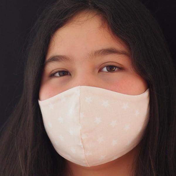Schnullireich Kleine Helden Maske: Behelfs-Mundschutz für Teenie (Mädchen / Apricot ) Personalisierbar