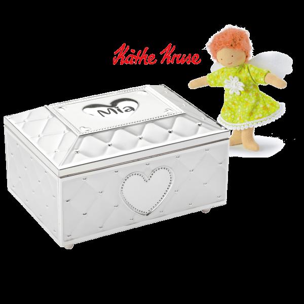 Geschenk Set: Versilbertes Schmuckkästchen mit Spieluhr & Ballerina mit Gravur des Namens + Käthe Kruse Beschütz mich Engel