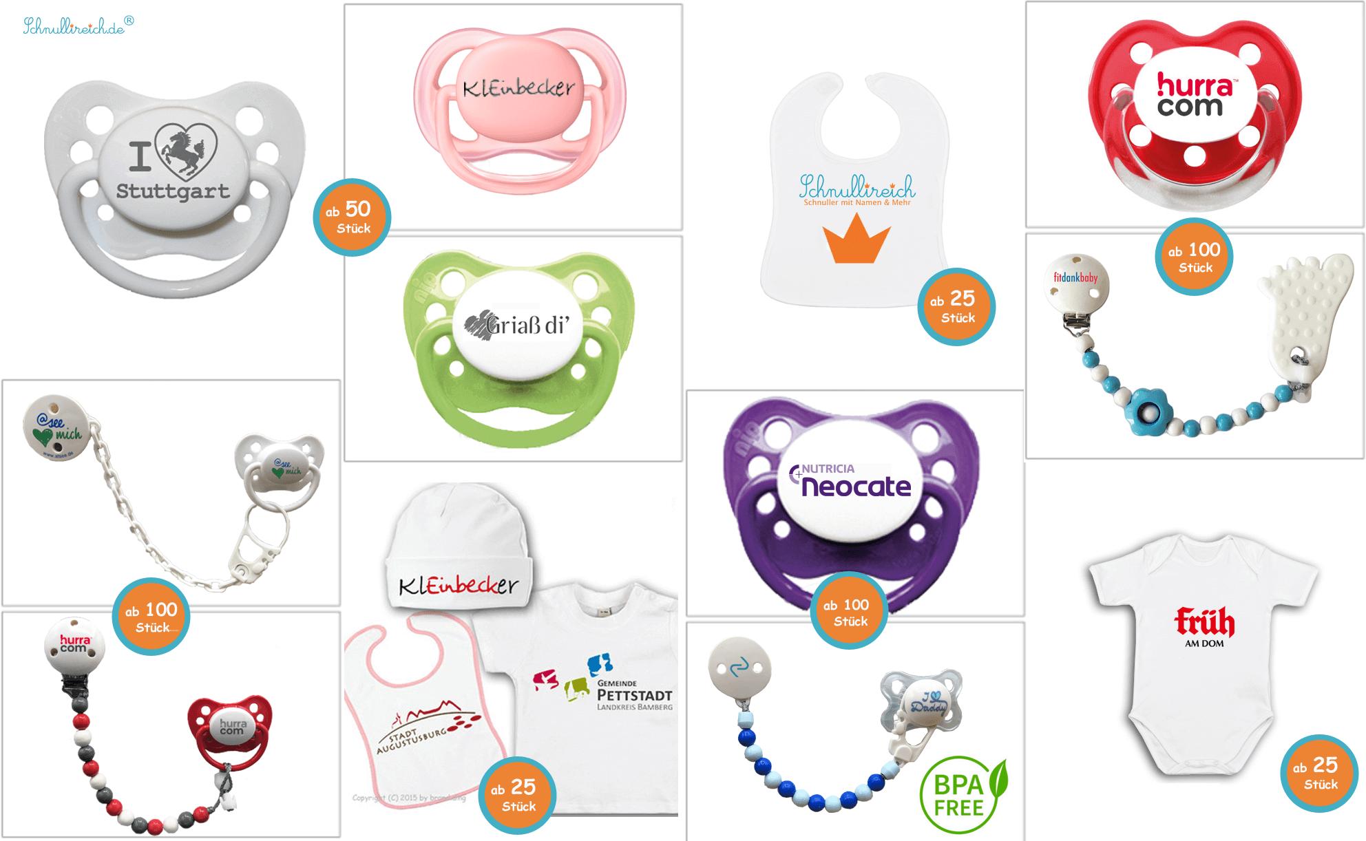 Schnuller mit Logo, Schnullerkette mit Logo, Babyartikel mit Logo