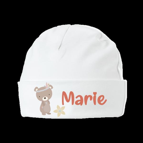 Babymütze mit Namen Bär (Mädchen / Junge)