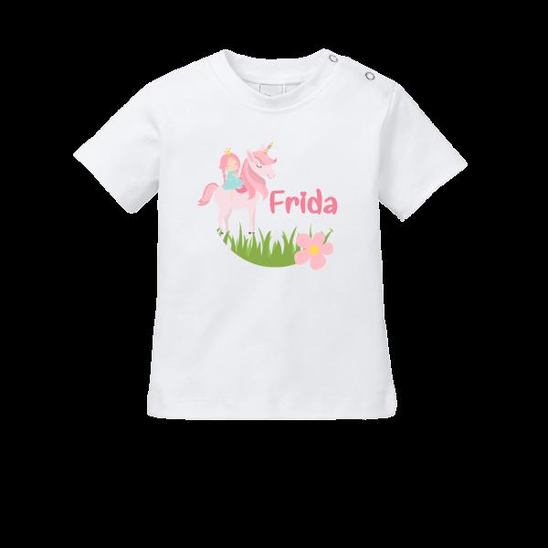 Baby Shirt mit Namen + Einhorn bedrucken (T-Shirt + Langarm)