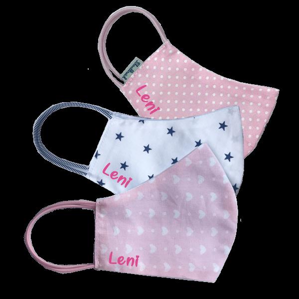 Schnullireich Behelfs-Schutzmaske /Alltagsmaske mit Namen bedruckt für Kinder (Mädchen) im 3er Set