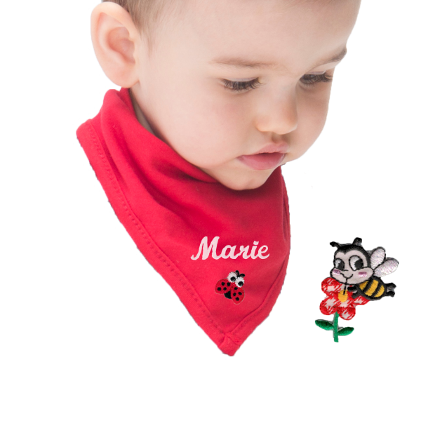 Personalisierbares Halstuch mit Namen bestickt Rot (Mädchen)