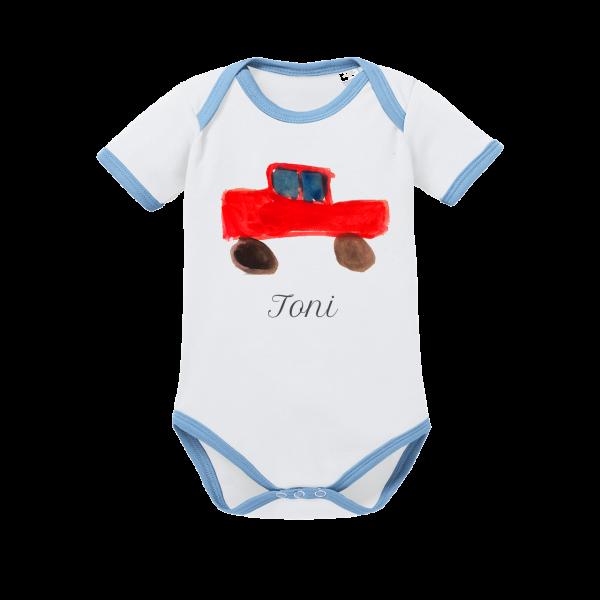 Baby-Body (Junge) mit selbst gemalten Kinderbild und Namen bedruckt - Mein Bild für Dich by Schnullireich