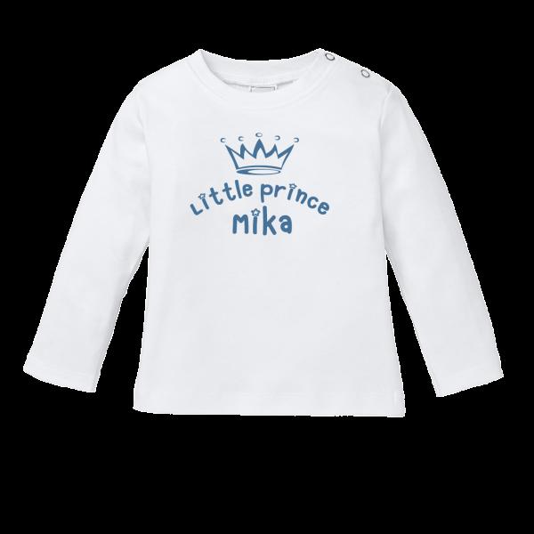 """Baby T-Shirt mit Namen und Spruch """"Little Prince"""" (Junge) Langarm by Schnullireich"""