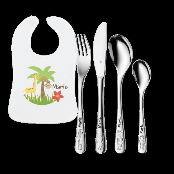 Geburtsgeschenk: WMF Kinderbesteck Safari mit Gravur + Lätzchen mit Namen Safari
