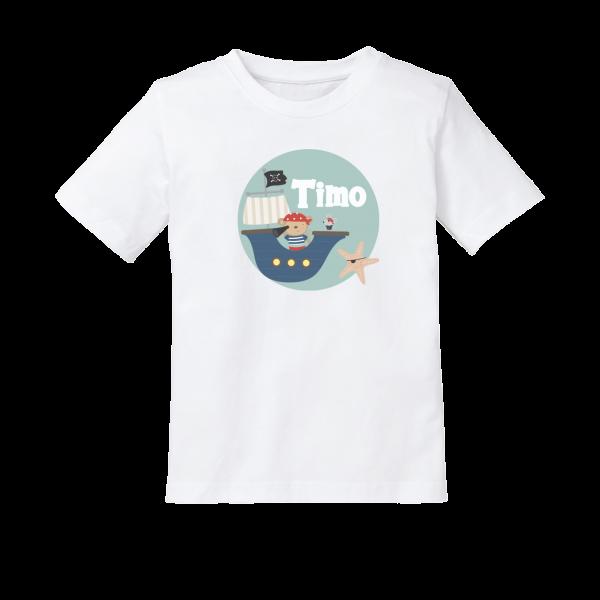 Kinder T-Shirt mit Namen Pirat (Junge)