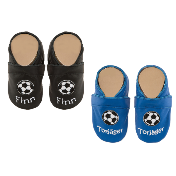 Krabbelschuhe mit Namen bestickt (Junge) Fußball Schwarz Blau