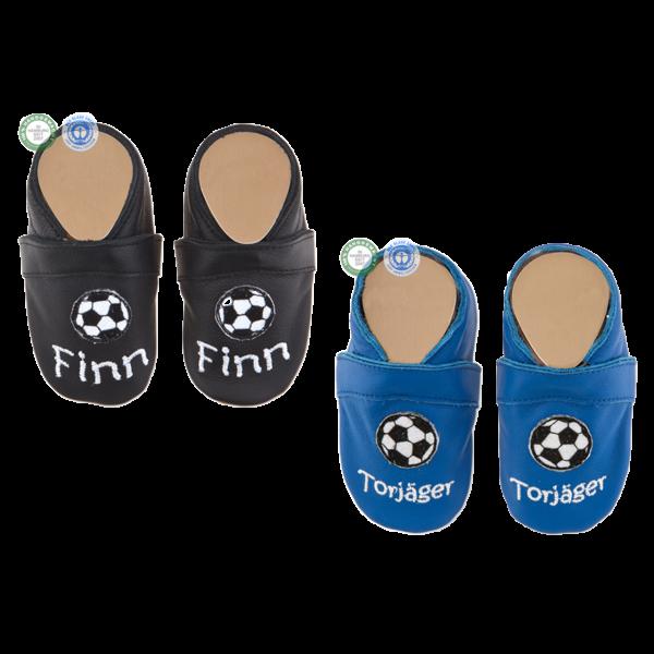 Krabbelschuhe mit Namen (Junge) Fußball Schwarz Blau
