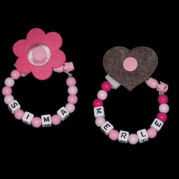 Schnullerkette mit Namen Filzherz oder Filzblume (Mädchen)