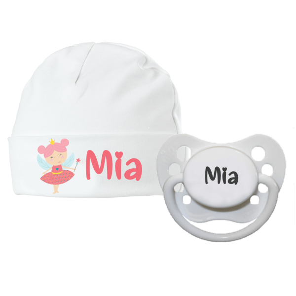 Babymütze mit Namen bedruckt und Schnuller mit Namen im Set - Kleine Fee (Mädchen) by Schnullireich