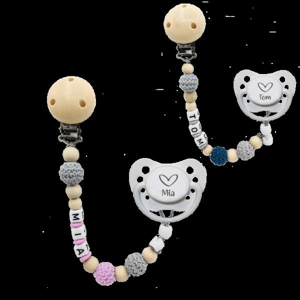 Geburtsgeschenk: Schnuller mit Namen Herz + Schnullerkette mit Namen Häkelperle im Set Mädchen / Junge
