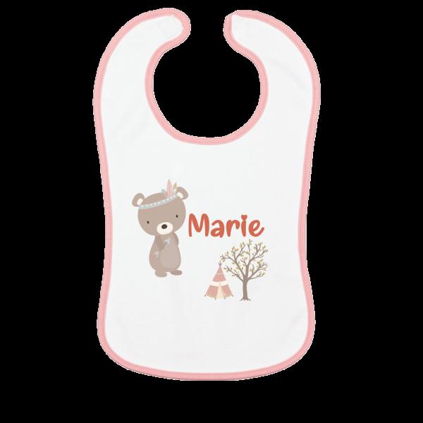 Lätzchen mit Name bedruckt - Bär (Junge / Mädchen)
