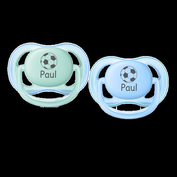 AVENT Schnuller mit Namen Paul + Wunschmotiv Fussball Gr. 1 0-6 Monate Junge