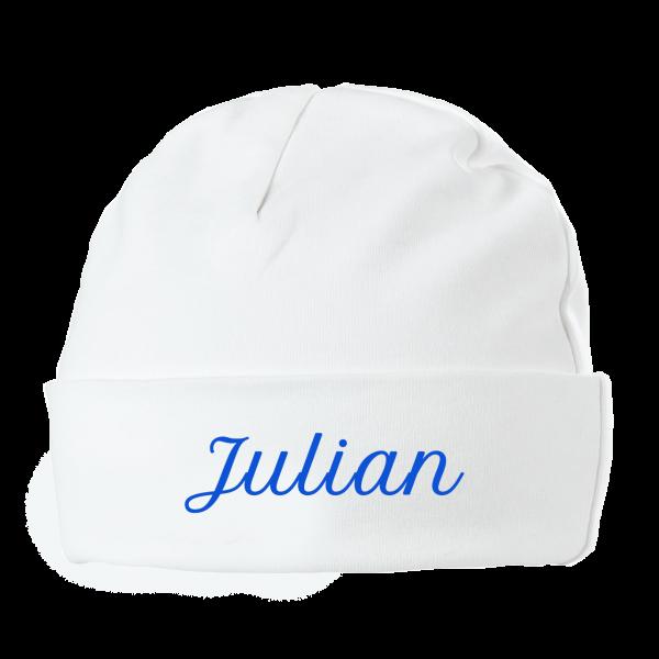 Personalisierte Baby Mütze mit Namen (Junge) Blau Druck