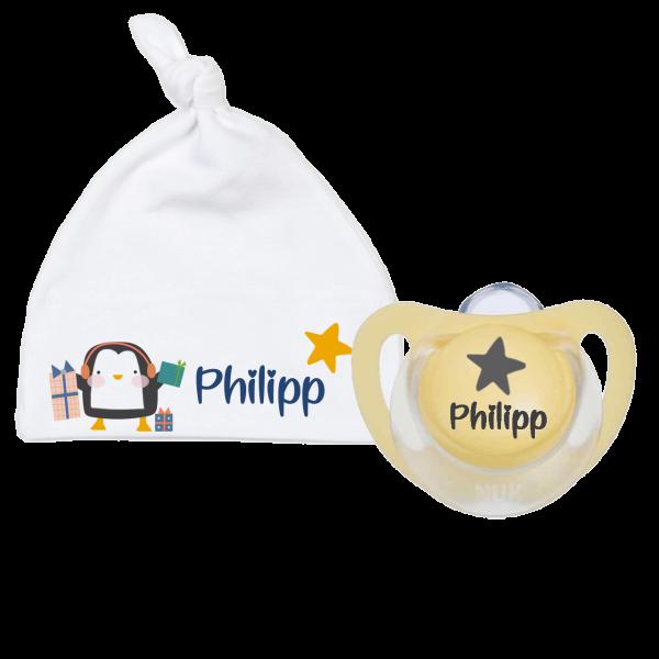 Babymütze mit Namen + 1 x NUK Schnuller mit Name Winter Pinguin (Junge)