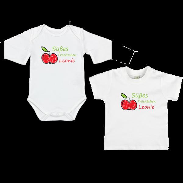 """Baby Body oder T-Shirt mit Namen und Spruch """"Süßes Früchtchen"""" (Mädchen)"""