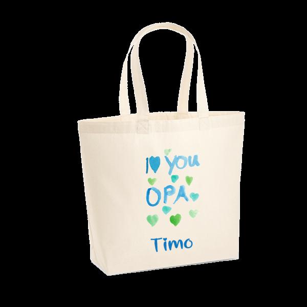 Einkaufstasche (waschbar) Shopper I Love You Opa mit Wunschnamen / Wunschtext (Junge)
