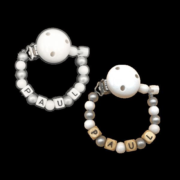 Schnullerkette mit Namen zur Taufe Perlen (Silber / Weiß) Junge / Mädchen