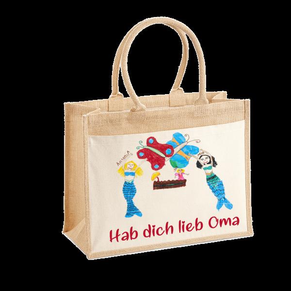 Henkel-Eiinkaufstasche mit selbst gemalten Kinderbild bedruckt - Mein Bild für Dich Schnullireich