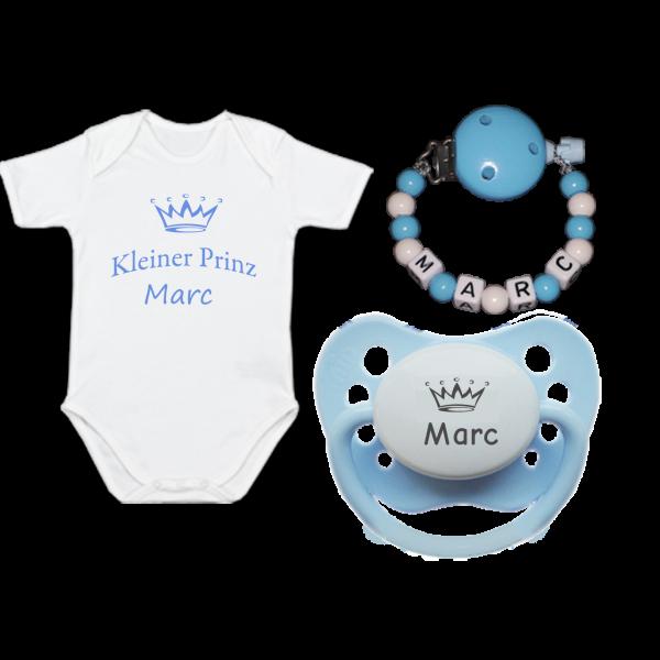 Baby Body mit Namen (Kleiner Prinz) + Namensschnuller + Schnullerkette mit Namen (Junge)