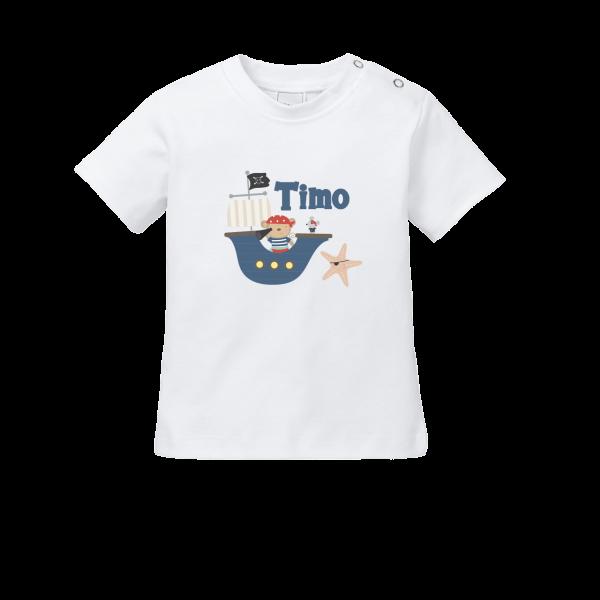 Baby Shirt mit Namen + Pirat bedrucken (T-Shirt + Langarm)