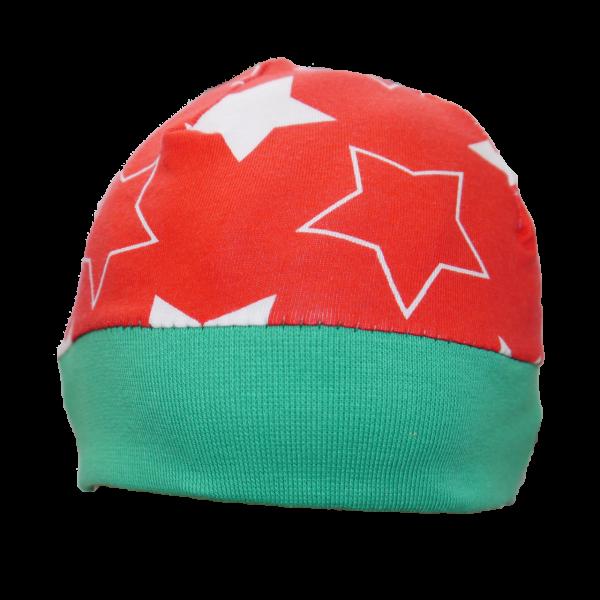 Handgenähte Babymütze Rot Weiße Sterne Mädchen Junge