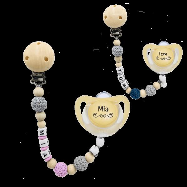 Geburtsgeschenk: NUK Schnuller mit Namen Herz + Schnullerkette mit Namen Häkelperle im Set Mädchen / Junge