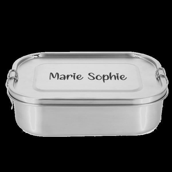 Schnullireich Edelstahl Brotdose / Lunchbox mit Namen Deines Kindes graviert (Herz Schrift)